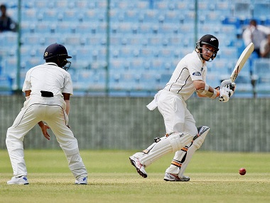 New Zealand's Tom Latham in action on day one of the warm-up match. PTI