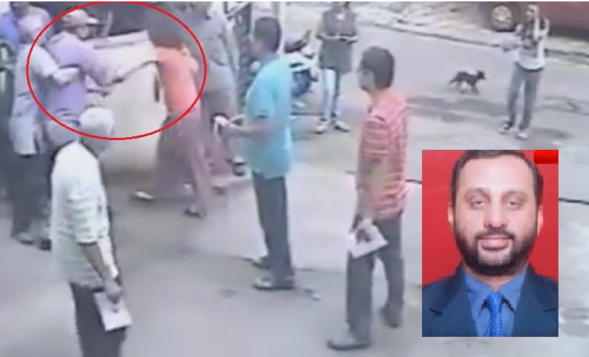 The CCTV footage of Milind Kale (inset) hitting Sonali Saraf. Courtesy: YouTube
