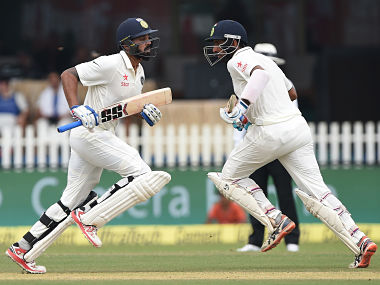 Murali Vijay (L) and Cheteshwar Pujara in action against New Zealand on day 1 of 1st Test. AFP