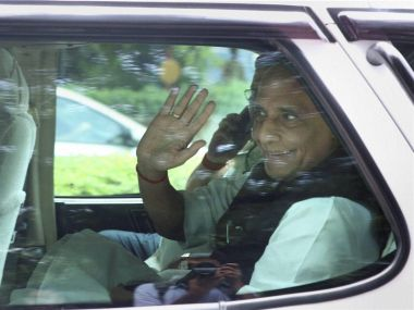 Union Home Minister Rajnath Singh returning from 7 RCR, after meeting with Prime Minister Narendra Modi, on Tuesday. PTI