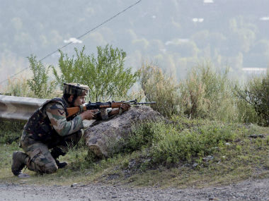 An Indian Army soldier during the Uri attack. PTI
