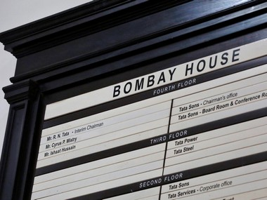 The new name board at Bombay House, headquarters of Tata Group, in Mumbai. Reuters