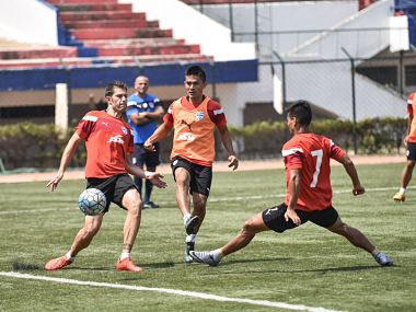 Bengaluru FC's Sunil Chhetri practices ahead of the second leg against.. . Image courtesy: Twitter/