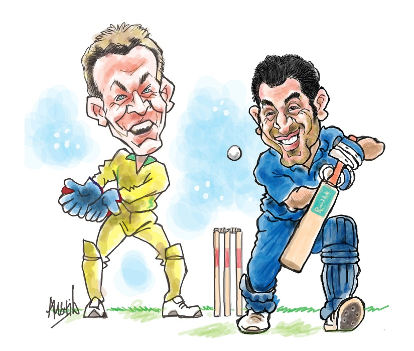 Gilchrist with Dhoni. Illustration © Austin Coutinho