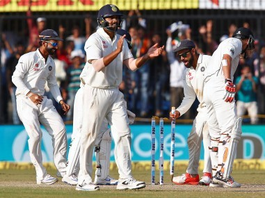 India's Virat Kohli celebrates with teammates after winning the third Test match. Reuters