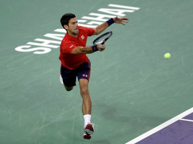 Novak Djokovic plays against Fabio Fognini at the Shanghai Masters. Reuters