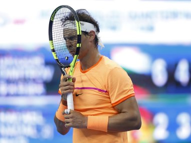 Rafael Nadal of Spain reacts after losing a point to Grigor Dimitrov at the China Open. AP
