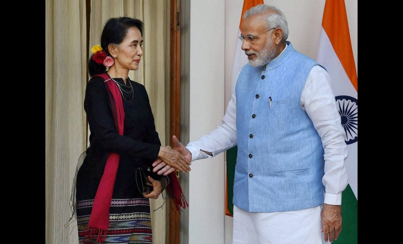 Prime Minister Narendra Modi with Myanmar State Counsellor and Foreign Minister Aung San Suu Kyi in New Delhi on Wednesday. PTI