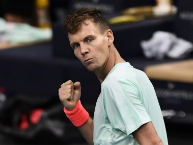Tomas Berdych celebrates after winning against Joao Sousa. AFP