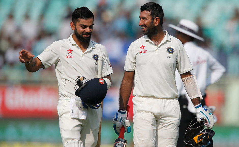 India's captain Virat Kohliand Cheteshwar Pujara stitched together a stand of 202 to bail the hosts not only from a tough position but also laid the platform for Day 2. Hosts' overnight score is 317/4. AP