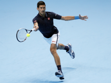 Novak Djokovic in his match against David Goffin. AP