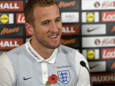 Harry Kane attends a press conference ahead of England's World Cup qualifier against Scotland. AFP