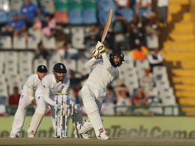 India's Ravindra Jadeja hits a six against England in Mohali. AP