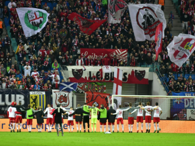 RB Leipzig's win puts them level with Bayern Munich at the top of the Bundesliga table. AFP