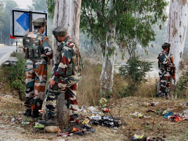Security personnel at guard in Jammu's Nagrota district. PTI