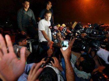 Congress Vice President Rahul Gandhi talking to media at Tilak Marg Police Station. PTI