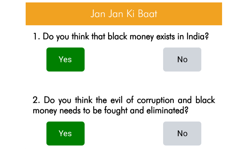 Questions on the Narendra Modi survey