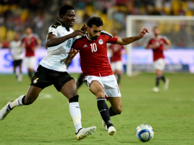 Mohammed Salah (R) scored in Egypt's win over Ghana. AFP