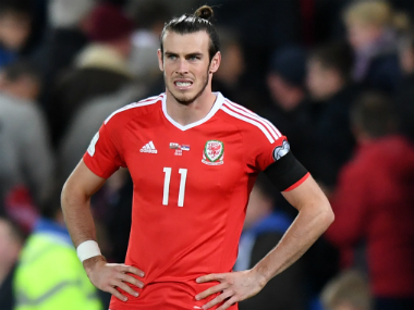 Wales' Gareth Bale wearing the black armband as a tribute. AFP
