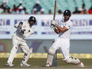 England captain Alastair Cook bats on Day 4 of the first Test against India at Rajkot. AP