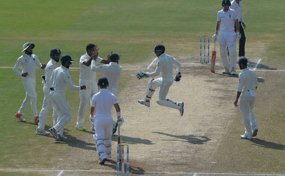 Ravichandran Ashwin (4L) celebrates an England wicket with teammates during Day 5 of the second Test at Vishakhapatnam. India won by 246 runs to go 1-0 up in the series. Indian captain Virat Kohli was adjudged the Man of the Match for his brilliant 167 and 81. Ashwin was the pick of the bowlers for India with eight wickets. AFP