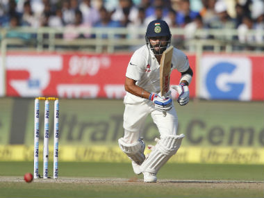 Virat Kohli plays a shot on Day 3 of the 2nd Test against England in Vizag. AP