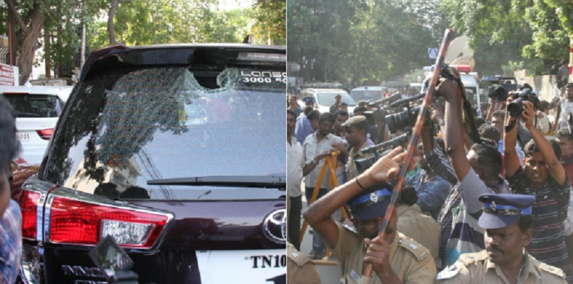 Violence erupted as rival groups clashed at the Nadigar Sangam general body meet. Image from Twitter