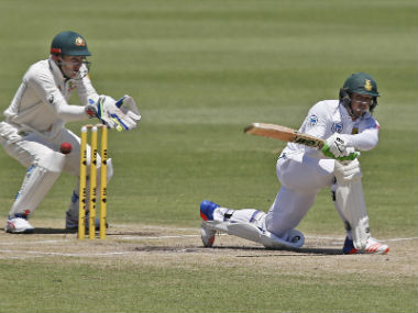 South Africa's Quinton de Kock plays a shot against Australia on day four of the first Test at Perth. AP