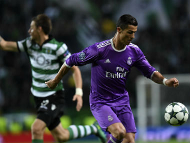 Real Madrid's Cristiano Ronaldo in action against Sporting Lisbon in the Champions League. AFP