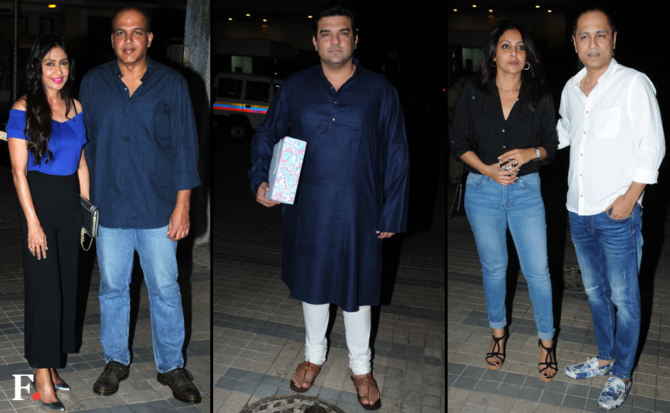 Director Madhur Bhandarkar recently held a house warming party at his place. (L-R)Ashutosh Sunita Gowariker; Siddharth Roy Kapur; Vipul Shah with his Wife Shefali. Sachin Gokhale/Firstpost