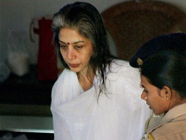 Indrani Mukherjee arrives to attend the post-death rituals of her father in Mulund, Mumbai on Tuesday. A special CBI court had last week granted Indrani the permission to attend the rituals anywhere in Mumbai . PTI