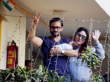 Bollywood actor Saif Ali Khan and his wife Kareena Kapoor with their newly born baby boy Taimur at their residence in Mumbai on Thursday. PTI