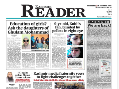 Screen grab of Wednesday's edition of Kashmir Reader