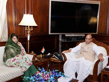 File image of Mehbooba Mufti and Rajnath Singh. PTI
