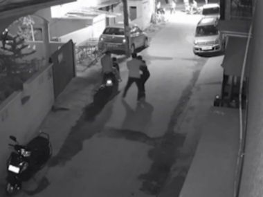 A CCTV grab of the incident being probed at the Banaswadi police station.