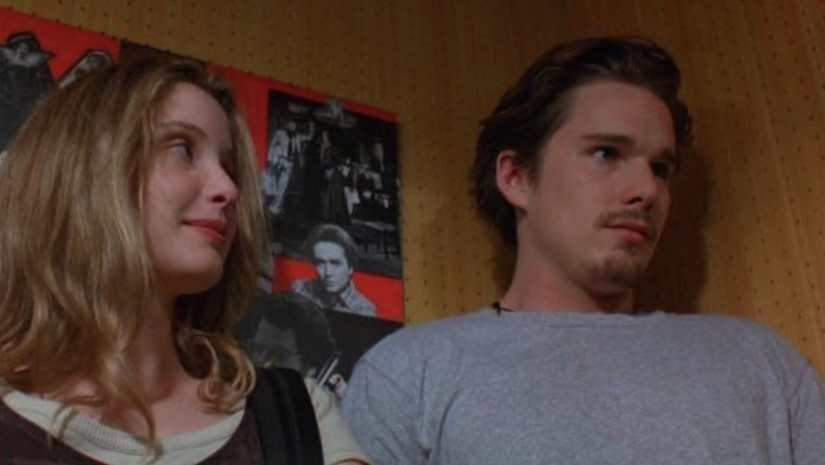 Julie Delphy and Ethan Hawke in Before Sunrise. Image from Twitter