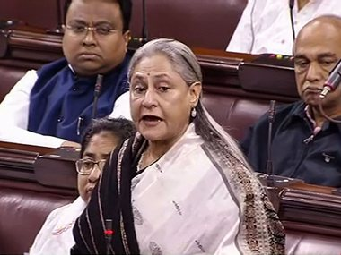 Jaya Bachchan speaks in the Rajya Sabha during the ongoing Winter Session of Parliament. PTI