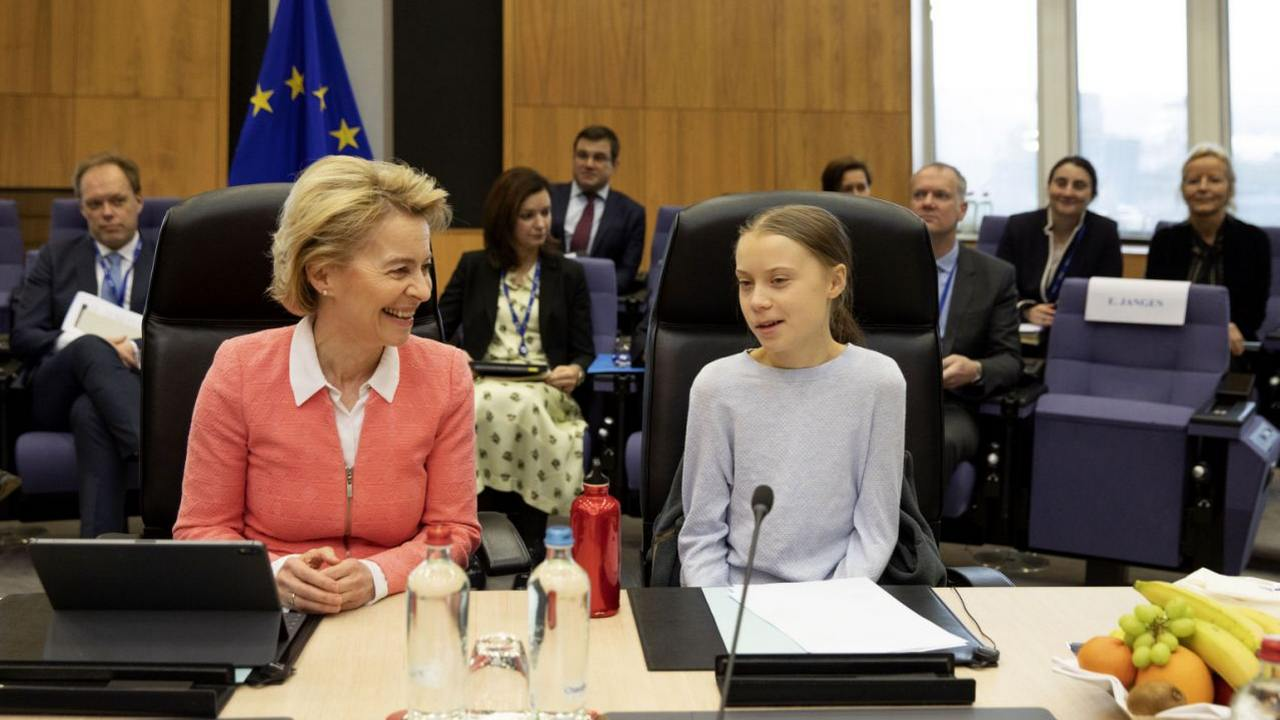 Swedish climate activist Greta Thunberg, right, and European Commission President Ursula von der Leyen attend the weekly College of Commissioners meeting at EU headquarters in Brussels. Image credit: AP