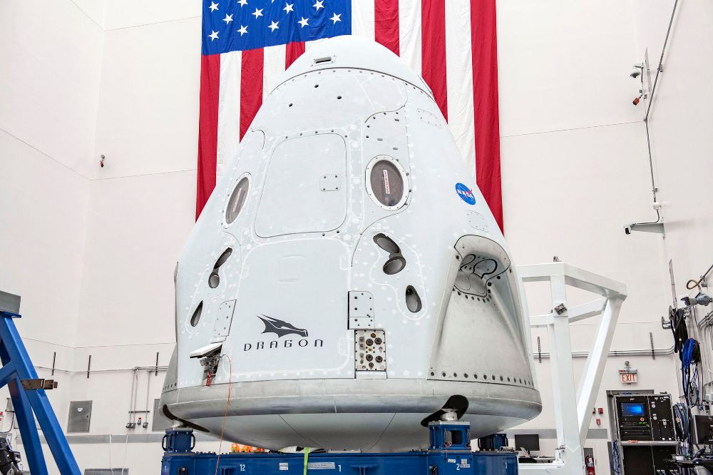 The Dragon capsule being prepped in a NASA site before its launch on 27 May. Image credit: Twitter