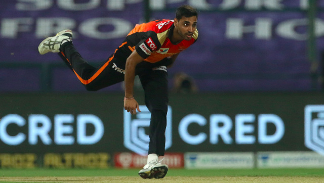 Bhuvneshwar Kumar sustained a thigh muscle injury during Sunrisers Hyderabad's match against Chennai Super Kings. Sportzpics