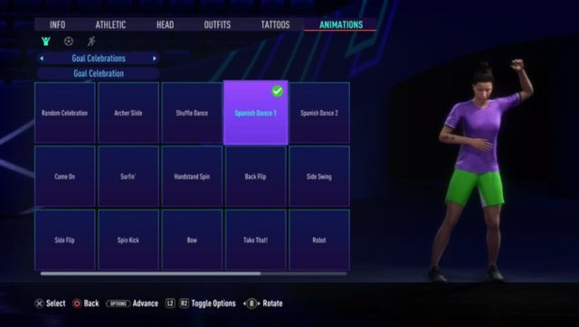 My Volta character's wearing a purple t-shirt and green shorts, because fashion. Screen grab from FIFA 21