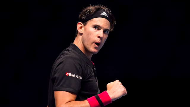 Dominic Thiem, runner-up in the 2019 edition, celebrates after winning a point during the 2020 ATP Finals opening clash against Stefanos Tsitsipas. AP