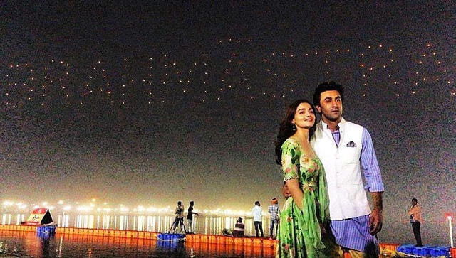 Alia Bhatt and Ranbir during the film's launch In a first of its kind launch - a swarm of drones lit up the sky to form the Brahmāstra logo.