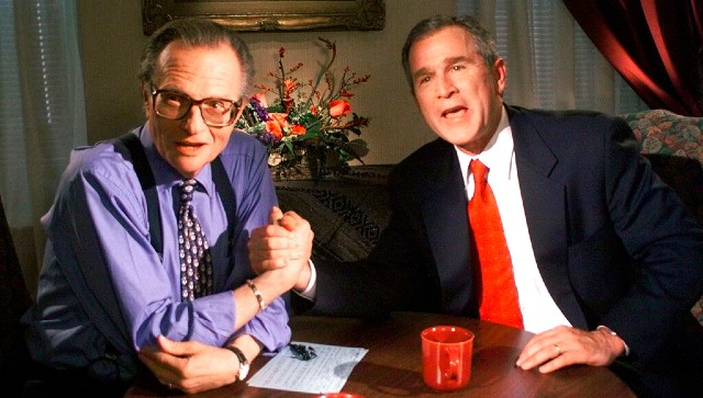File image of former US president George W Bush and CNN's Larry King. AP