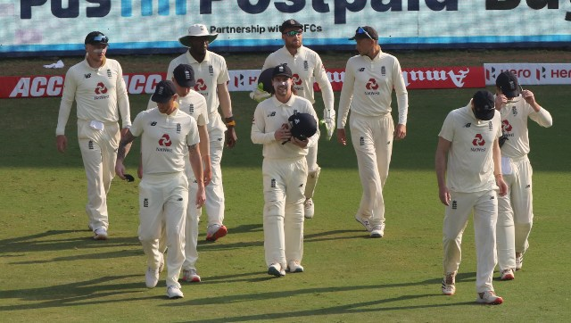 England team during day four of the first test match between India and England held at the Chidambaram Stadium in Chennai, Tamil Nadu, India on the 8 February 2021. Photo by Pankaj Nangia/ Sportzpics for BCCI