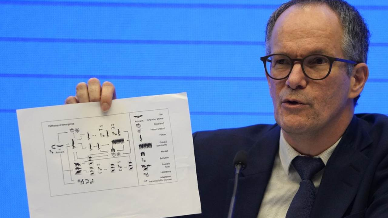 Peter Ben Embarek, of the World Health Organization team holds up a chart showing pathways of transmission of the virus during a joint press conference held at the end of the WHO mission in Wuhan in central China's Hubei province on Tuesday, 9 February 2021. Image: AP