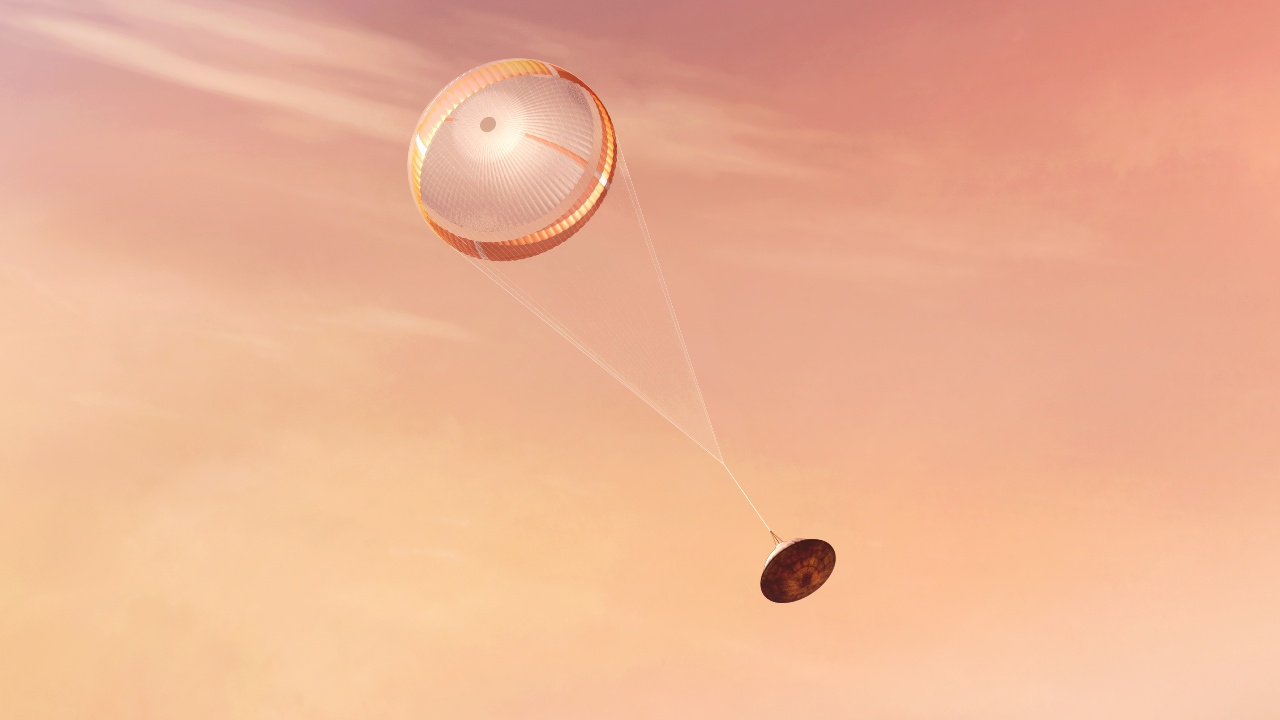 The spacecraft descending after the parachute has been deployed.  Image credit: NASA/JPL-Caltech