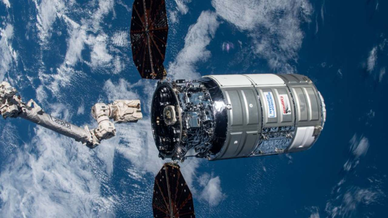 Northrop Grumman's Cygnus resupply ship, named S.S. Katherine Johnson,  on its way to the ISS carrying fresh food and science research. Image credit: Twitter/@Space_Station